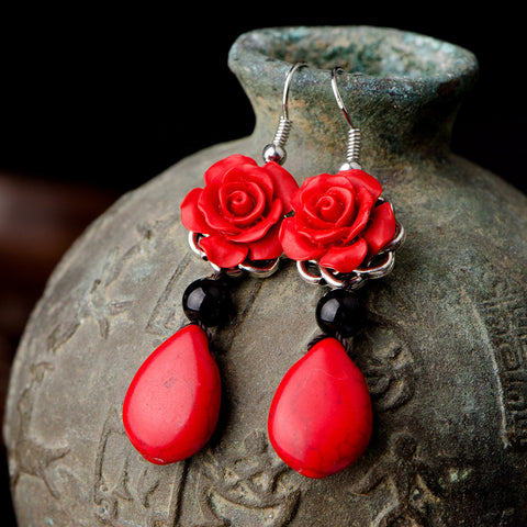 Oriental Red Rose Flower Drop Earrings