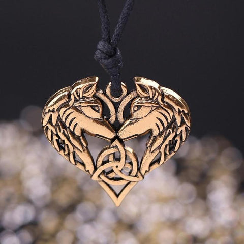 Spirit Wolf Heart Necklace
