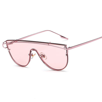 2016 New Oversized Women Flat Top Sunglasses Fashion Korea Brand Designer Steampunk Mirror Sun Glasses Big Integrated Goggles