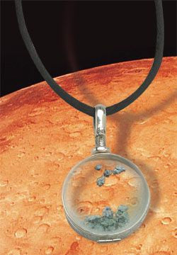 Martian Meteorite Locket on Elegant Satin Cord