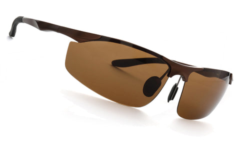 LUXPARD Men Polarized Sunglasses Metal Frame Matte Bronze LS003D