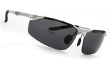 LUXPARD Men Polarized Sunglasses Metal Frame Matte Silver LS003C