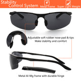 LUXPARD Men Polarized Sunglasses Metal Frame Matte Black LS0003A