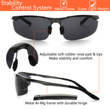 LUXPARD Men Polarized Sunglasses Metal Frame Matte Gray LS003B