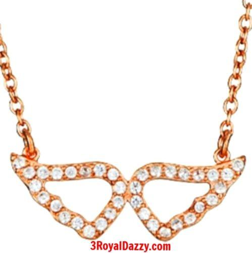 925 Silver Layer with Rose Gold on White CZ Womens Angel Wings Pendant Necklace - 3 Royal Dazzy
