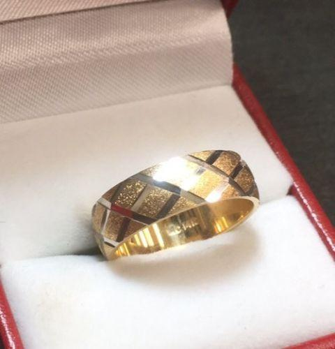 New 14k Solid Yellow & White Two Tone Diamond Cut 6mm Gold ring 4.7g - Size -5.5 - 3 Royal Dazzy