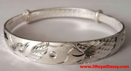 Handmade Dragon and Phoenix Blessed 999 Solid Fine Silver Adjustable Bangle - 3 Royal Dazzy