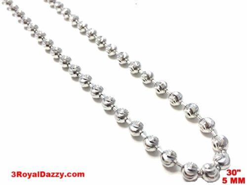 "18k w gold layered over 925 sterling silver Bling Beaded Moon Cut chain 5 mm 30"" - 3 Royal Dazzy"