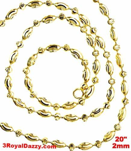 "14K Yellow Gold layered on 925 Silver diamond cut Moon Chain / Necklace-2mm- 20"" - 3 Royal Dazzy"