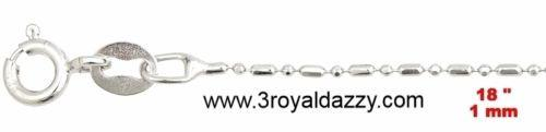 "18k white gold layered over .925 sterling silver -1 mm 1+1 diamond cut chain-18"" - 3 Royal Dazzy"