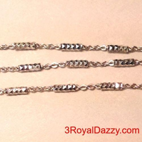 "14k White Gold on Sterling Silver Bar & Cable Italian Anklet Bracelet 1.3mm 10"" - 3 Royal Dazzy"