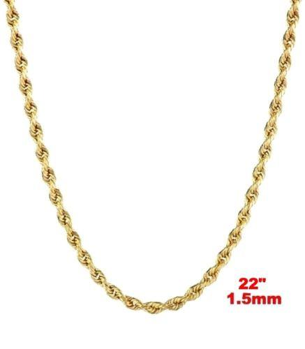 "Italy 14k yellow gold layer on 925 Sterling Silver Classic Rope Chain- 1.5MM 22"" - 3 Royal Dazzy"