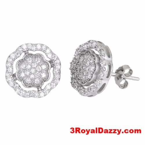 Timeless Flower Design .925 Sterling Silver Micro Pave CZ Women Earrings - 3 Royal Dazzy
