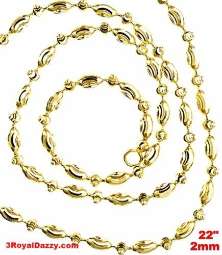 "14K Yellow Gold layered on 925 Silver diamond cut Moon Chain / Necklace-2mm- 22"" - 3 Royal Dazzy"