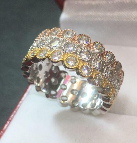 14k Tri-color Gold Layer On Sterling Silver 3ct CZ Wide Eternity ring Band Size7 - 3 Royal Dazzy