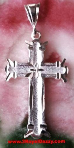 Modern Sculpted Design Solid .925 Anti Tarnish Sterling Silver Cross Pendant - 3 Royal Dazzy