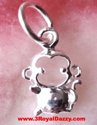 Baby Monkey Chinese Zodiac Horoscope .925 Anti Tarnish Sterling Silver Pendant - 3 Royal Dazzy