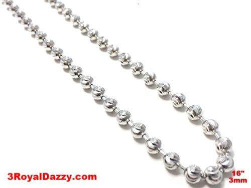 "18k white gold layered over .925 sterling silver moon cut chain 3 mm 16 "" - 3 Royal Dazzy"