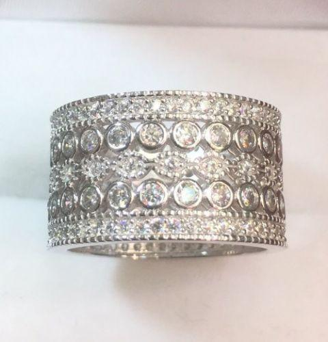 14k White Gold On Sterling Silver 5ct CZ  6 Roll Round Eternity Wide ring Size7 - 3 Royal Dazzy