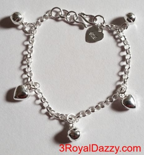 Sweet Hearts & Ball Bell Dangling 925 Sterling Silver Charms Baby Girl Bracelet - 3 Royal Dazzy