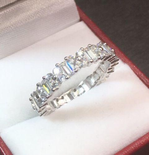 14k White Gold Layer On Sterling Silver 3 ct CZ  Eternity ring Band Size 6 - 3 Royal Dazzy