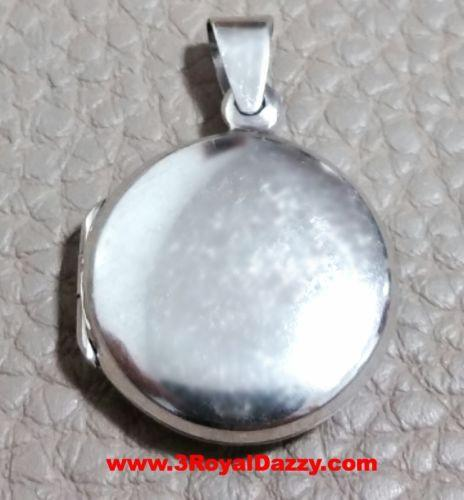 Anti Tarnish Solid Sterling Silver Plain Engraving Round Picture Locket Pendent - 3 Royal Dazzy