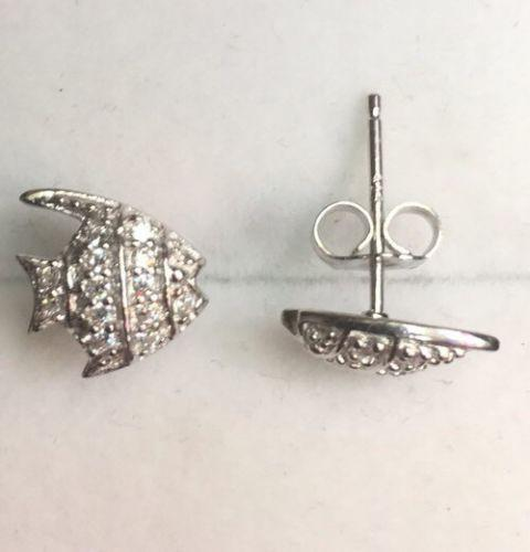 New Hand Set Cubic Zirconia 14k White Gold On Sterling Silver Fish earring - 3 Royal Dazzy