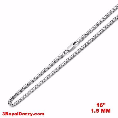 "Attention Getting Fashion Italy Franco Chain .925 Sterling Silver - 1.5 MM 16 "" - 3 Royal Dazzy"