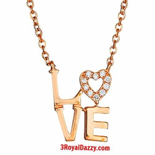 "New 14k Rose Gold on 925 Sterling Silver Womens Girls ""Love"" Heart Letters Charm - 3 Royal Dazzy"
