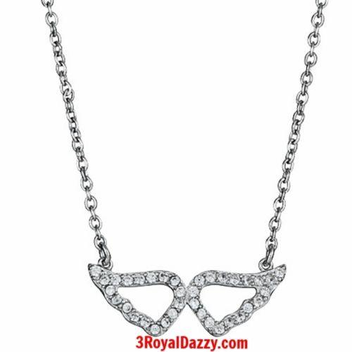"925 Silver Layer with White Gold on White CZ Womens Angel Wing Necklace -16"" 18"" - 3 Royal Dazzy"