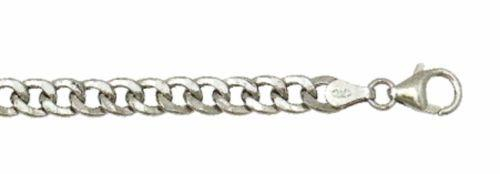 "New Italian 14k White gold Rhodium on 925 Sterling Silver Curb Chain- 3.2mm 18"" - 3 Royal Dazzy"