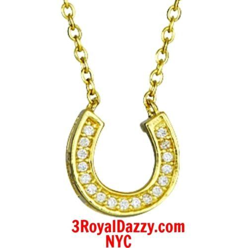 14k Yellow Gold layer on Solid 925 Silver Crystal CZ Horseshoe Pendant Necklace - 3 Royal Dazzy