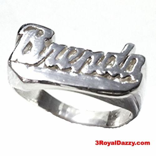 "Personalized Name Ring Custom Name Solid 925 Sterling Silver Customized ""Brenda"" - 3 Royal Dazzy"