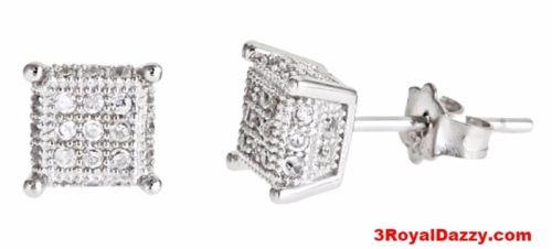 14k white gold layer on Small Square micro pave set all sizes CZ 925 Silver Stud - 3 Royal Dazzy