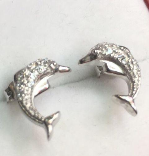 New Hand Set Cubic Zirconia 14k White Gold On Sterling Silver Dolphin earring - 3 Royal Dazzy