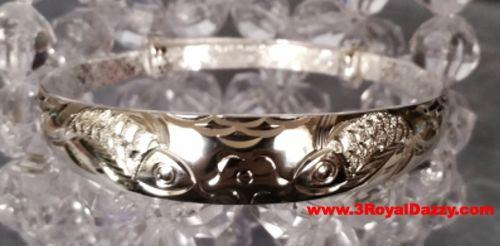 Handmade Japanese Double Koi Fish Design 999 Solid Fine Silver Adjustable Bangle - 3 Royal Dazzy