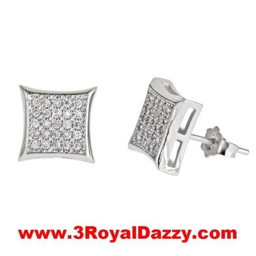 New Square kite style micro pave with CZ stones 925 Sterling Silver Stud Earring - 3 Royal Dazzy