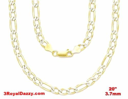 "Italian diamond cut 14k white & yellow gold layer over Silver Figaro- 3.7mm- 20"" - 3 Royal Dazzy"