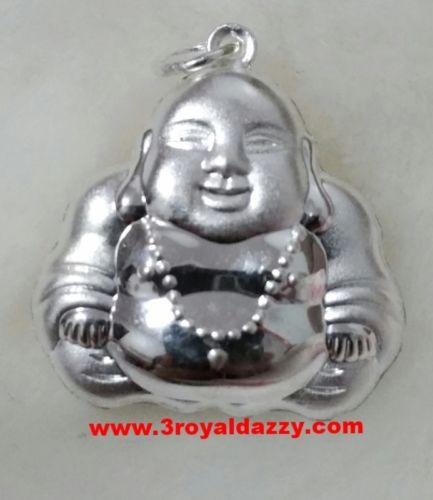 Exceptional Smiling Reversible Buddha .999 Solid Silver Hollow Pendant - 3 Royal Dazzy