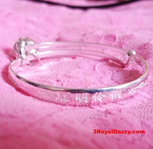 New Handmade 925 Sterling Silver Asian Blessing Newborn Baby Adjustable Bangle - 3 Royal Dazzy