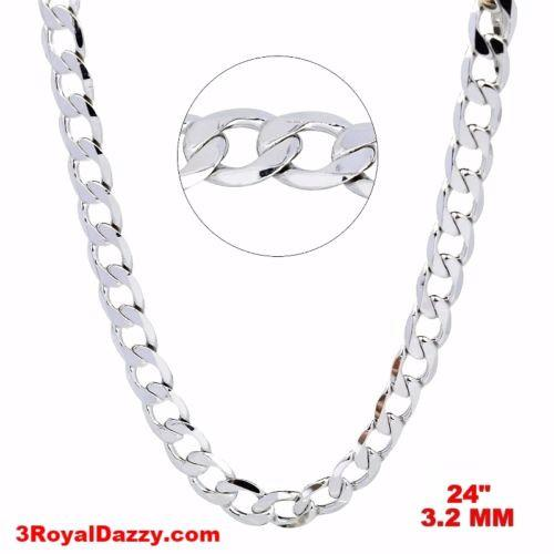 "New Italian 14k White gold Rhodium on 925 Sterling Silver Curb Chain- 3.2mm- 24"" - 3 Royal Dazzy"