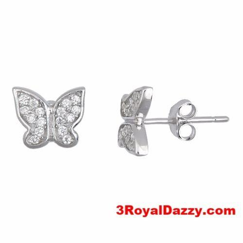 Butterfly CZ white gold 18k layered on .925 sterling silver micro pave earrings - 3 Royal Dazzy