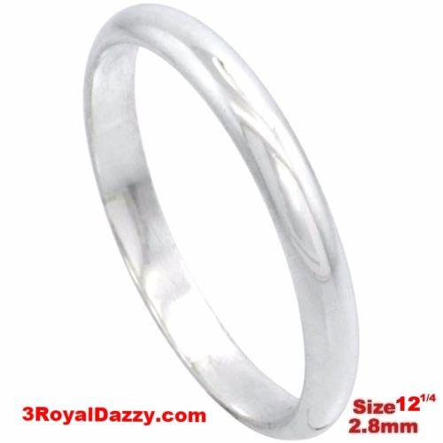 Italy 14k white gold layered on silver polish wedding band ring 2.8mm Size 12.25 - 3 Royal Dazzy