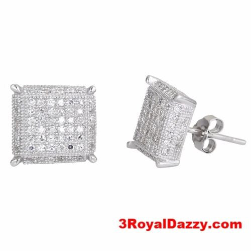 Square Design Men Fashion Micro CZ Pave .925 Sterling Silver Stud Earrings - 3 Royal Dazzy