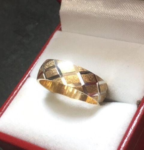 New 14k Solid Yellow & White Two Tone Diamond Cut 6mm Gold ring 4.9g - Size -7.5 - 3 Royal Dazzy