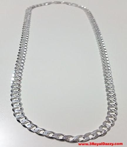 "Men Women Children Sterling Silver Italian Cuban Curb Thicker Necklace 5.5mm 22"" - 3 Royal Dazzy"