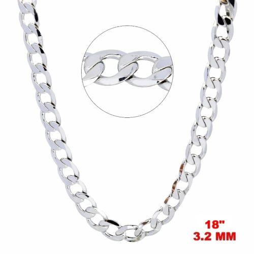 "New Italian 14k White gold Rhodium on 925 Sterling Silver Curb Chain- 3.2mm- 18"" - 3 Royal Dazzy"