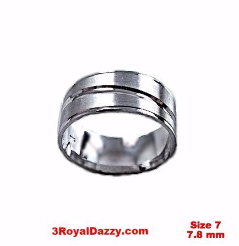 Lined Design Matte & Shiny 18k layer on Sterling Silver Ring Band 7.8 mm Size 7 - 3 Royal Dazzy