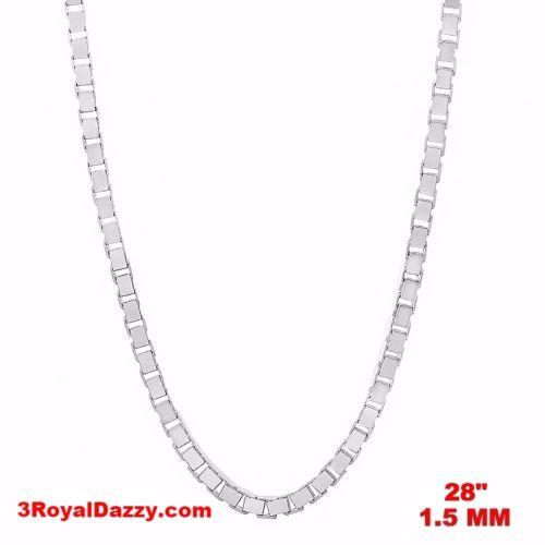 "Italy 14k white gold layered over Solid 925 sterling silver Box Chain- 1.5mm 28"" - 3 Royal Dazzy"