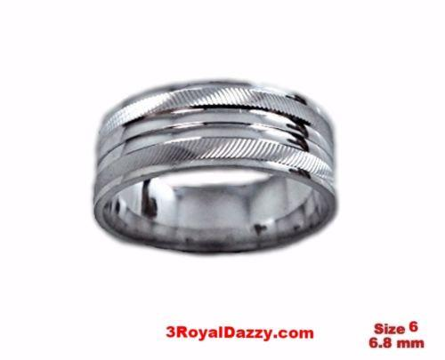 Shiny Elegant Design Cut 18k W Gold over Sterling Silver Ring Band 6.8mm Size 6 - 3 Royal Dazzy